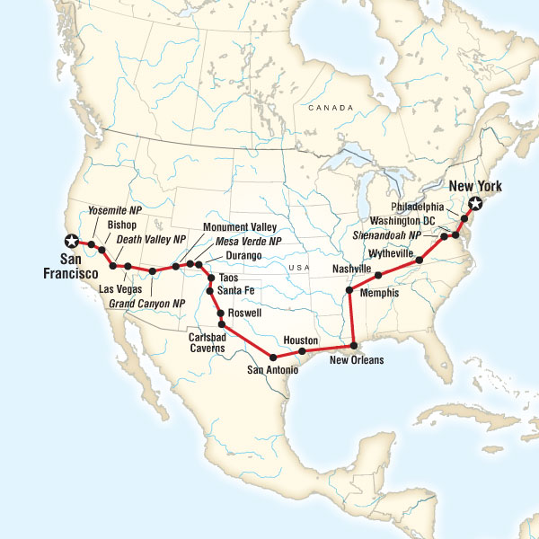 San Francisco to New York Tour Map