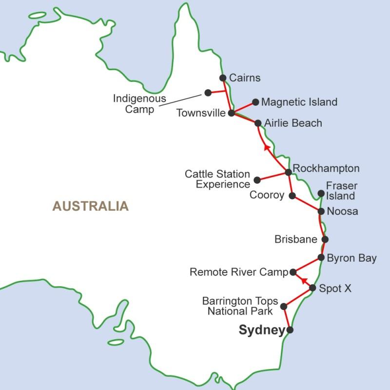 East Coast Map Of Australia.Work And Travel Australia