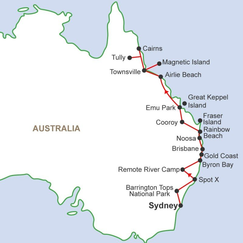 Australia Map Cairns.Sydney To Cairns Travel Pass
