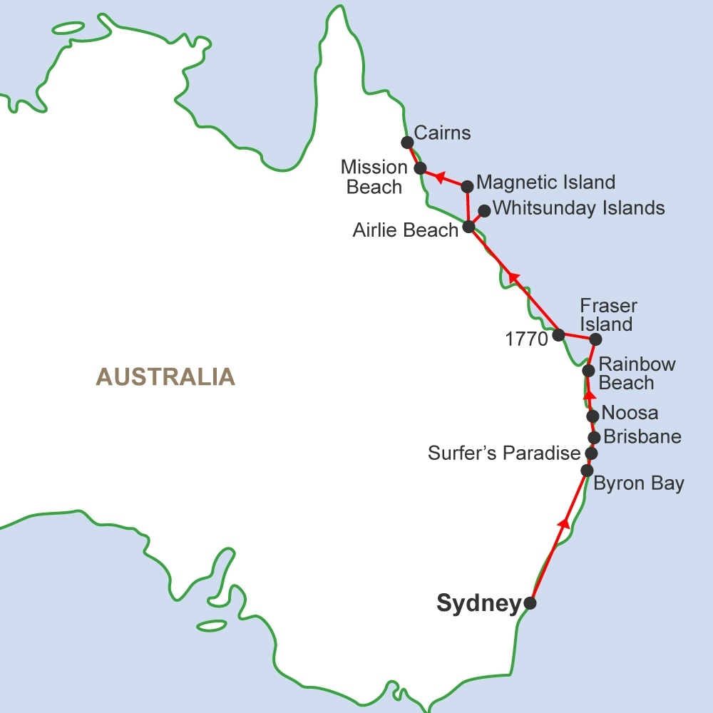 East Coast Of Australia Map.Travelling In Australia Gap Year Travel Work In Australia With